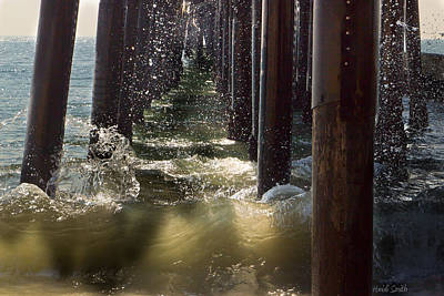 Wood Pylons Photograph - Seal Beach Pier Surf by Heidi Smith