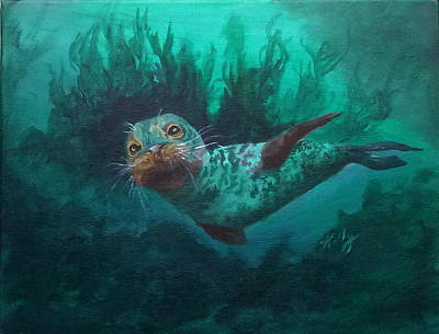 Aquatic Life Drawing - Seal by Kathleen Kelly Thompson