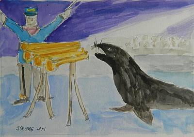Seal Playing Horns Original by James George