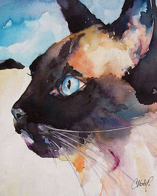 Cat Painting - Seal Point Siamese Cat by Christy  Freeman