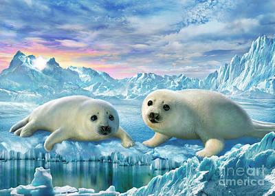 Pups Digital Art - Seal Pups by Adrian Chesterman