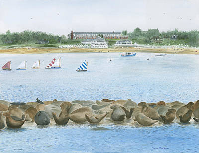 Chatham Harbor Painting - Seals At Chatham Bars Inn by Heather MacKenzie