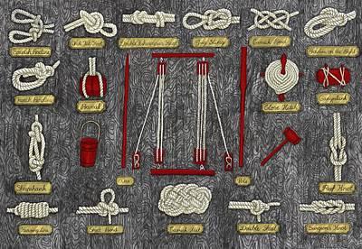 Oars Mixed Media - Seaman Knots by Ruta Dumalakaite