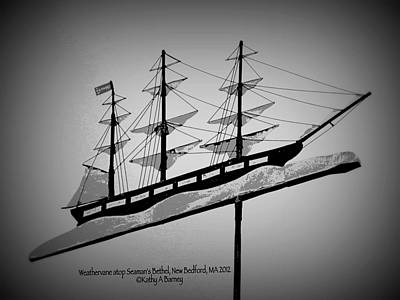 Art Print featuring the photograph Seaman's Bethel Weathervane  by Kathy Barney