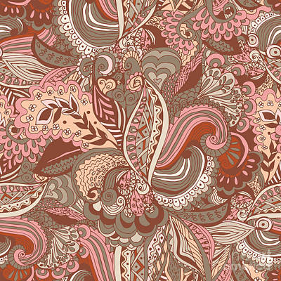 Pattern Digital Art - Seamless Abstract Hand-drawn Floral by Radugaart