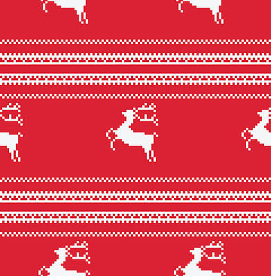 Seamless Christmas Pattern Art Print by Mike Taylor