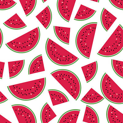 Digital Art - Seamless Colorful Pattern With Red by Ekaterina Bedoeva