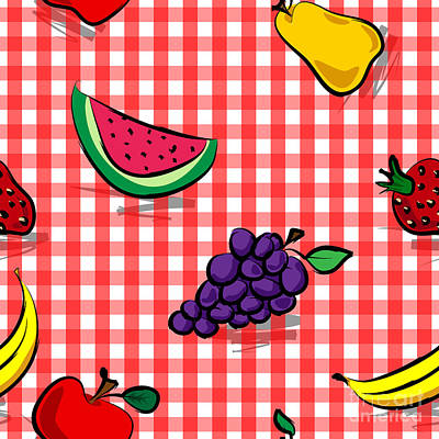 Table Cloth Digital Art - Seamless Grungy Fruits Over Red Gingham Pattern by Sylvie Bouchard