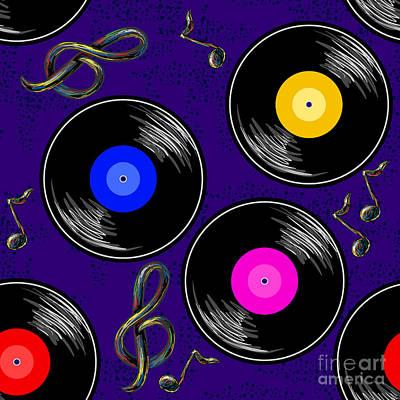 Gramophone Wall Art - Digital Art - Seamless Music Pattern With Vinyl by Artskvortsova