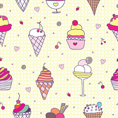 Digital Art - Seamless Pattern Delicious Ice Cream by Natalia Flurno