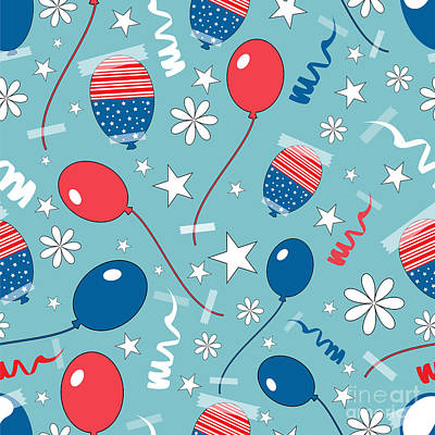 Balloon Digital Art - Seamless Pattern For 4th Of July by Allies Interactive