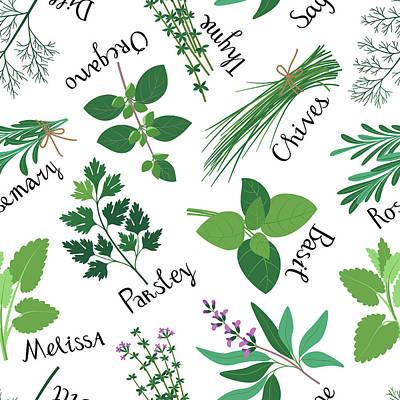 Seamless Pattern Fresh Herbs Art Print by Innabodrova