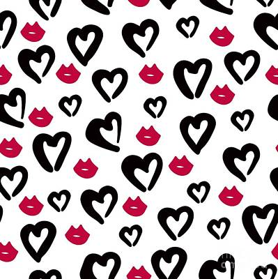 Digital Art - Seamless Pattern Of Black Hearts And by Wewhitelist
