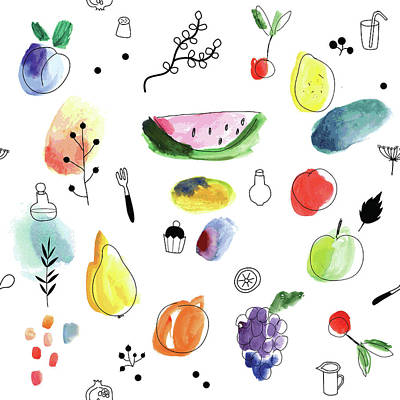 Digital Art - Seamless Pattern With Fruits, Berries by Loliputa
