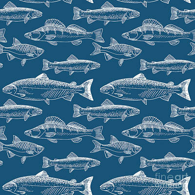 Salmon Wall Art - Digital Art - Seamless Pattern With Hand Drawn Fish by Radiocat