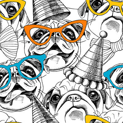 Pug Wall Art - Digital Art - Seamless Pattern With Image Of A Pug In by Afishka