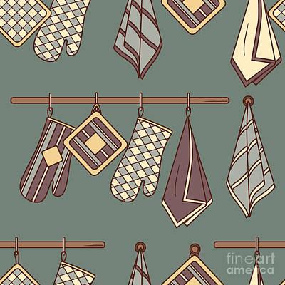 Linen Wall Art - Digital Art - Seamless Pattern With Kitchen Textiles by Talirina
