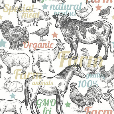 Goose Wall Art - Digital Art - Seamless Pattern With Livestock by Mamita