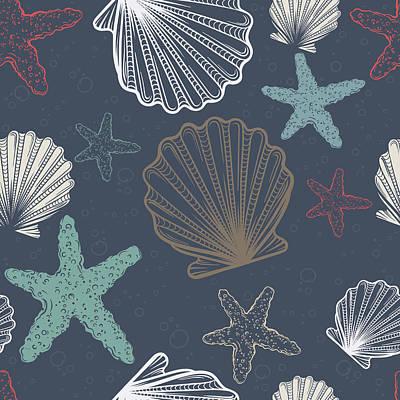 Digital Art - Seamless Pattern With Shells And by Olga antoshevskaya