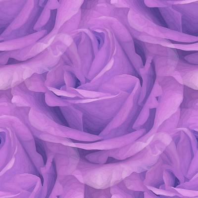 Mixed Media - Seamless Purple Rose Vector by Tracey Harrington-Simpson