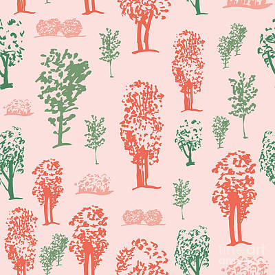 Pink Tree Wall Art - Digital Art - Seamless Tree Pattern, Deciduous Trees by Zzorna