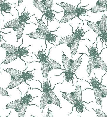 Housefly Wall Art - Digital Art - Seamless Vector Flies Pattern In by Lestyan