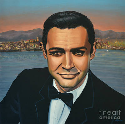 With Painting - Sean Connery As James Bond by Paul Meijering