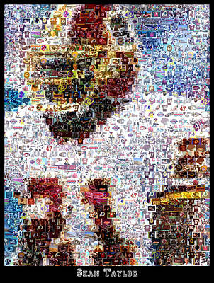 Sports Royalty-Free and Rights-Managed Images - Sean Taylor Mosaic by Paul Van Scott