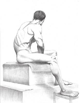 Male Nude Drawing Drawing - Sean's Side by Janaka Ruiz