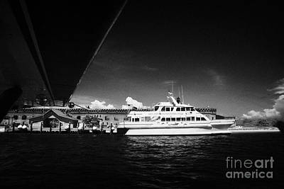 Seaplane Passing Ferry And Dock At Fort Jefferson Dry Tortugas National Park Florida Keys Usa Art Print by Joe Fox