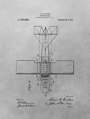 Aviators Drawing - Seaplane Patent Drawing by Dan Sproul