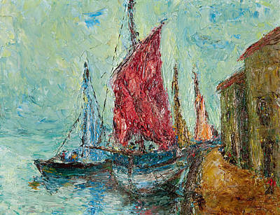 Seaport Painting Art Print by Russell Shively