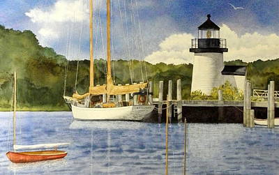 Brilliant Painting - Seaport Setting by Lizbeth McGee