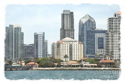 Mixed Media - Seaport Village And Downtown San Diego Watercolor by Claudia Ellis