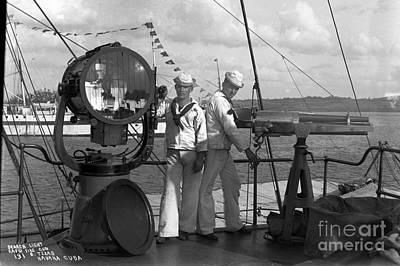 Photograph - Search Light And  Rapid  Fire Gun U. S. Battleship Texas  Cuba 1898 by California Views Archives Mr Pat Hathaway Archives