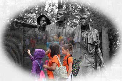 Photograph - Searching A Loved Ones Name On The Vietnam Veterans Memorial Altered Version II by Jim Fitzpatrick