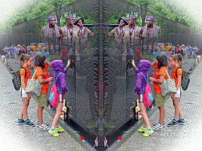 Photograph - Searching A Loved Ones Name On The Vietnam Veterans Memorial Altered Version by Jim Fitzpatrick