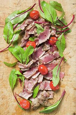 Seared Tuna Slices With Tomatoes And Beetroot Leaves Art Print