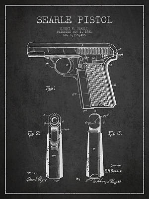 Searle Pistol Patent Drawing From 1921 - Dark Art Print by Aged Pixel