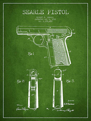 Wild West Digital Art - Searle Pistol Patent Drawing From 1921 - Green by Aged Pixel