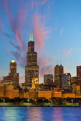 Art Print featuring the photograph Sears Tower Sunset by Sebastian Musial