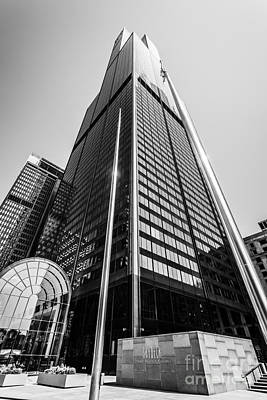 Sears Willis Tower Chicago Black And White Picture Art Print by Paul Velgos