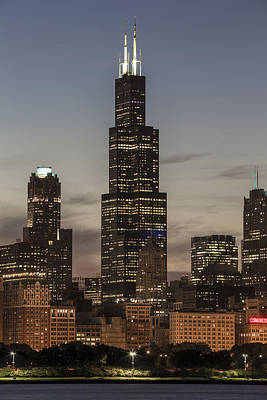 Photograph - Sears Willis Tower In Chicago And Sunset by John McGraw
