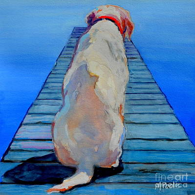Yellow Labrador Retriever Painting - Seas Are Calm by Molly Poole