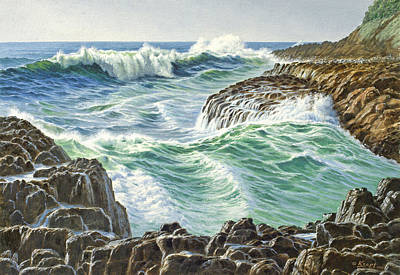 Surf Painting - Seascape-devil's Churn-oregon by Paul Krapf