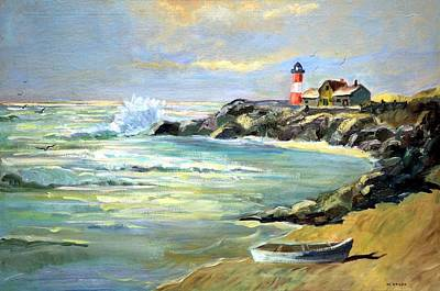 Art Print featuring the painting Seascape Lighthouse By Mary Krupa by Bernadette Krupa