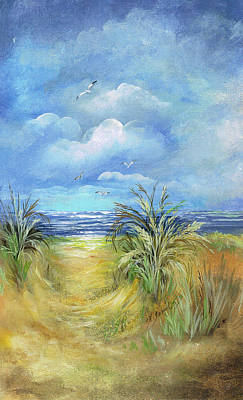 Mixed Media - Seascape Print by Nancy Gorr