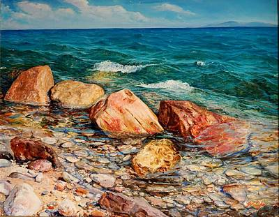 Painting - Seascape - Red Rocks  by Sefedin Stafa