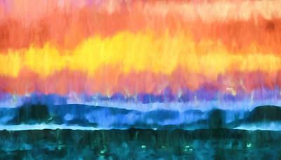 Mixed Media - Seascape Sunset Abstract Art - Dancing Lights At The Beach  by Priya Ghose