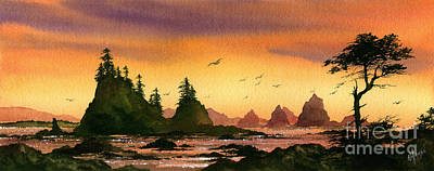 Miniature Watercolors Painting - Seascape Sunset by James Williamson